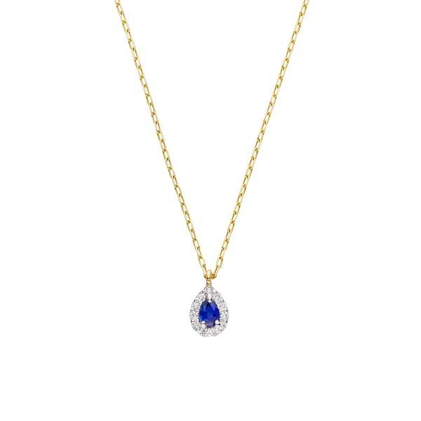 K10イエローゴールド サファイア ダイヤモンド取り巻きネックレス/VA ヴァンドーム青山(VAvendomeaoyama)