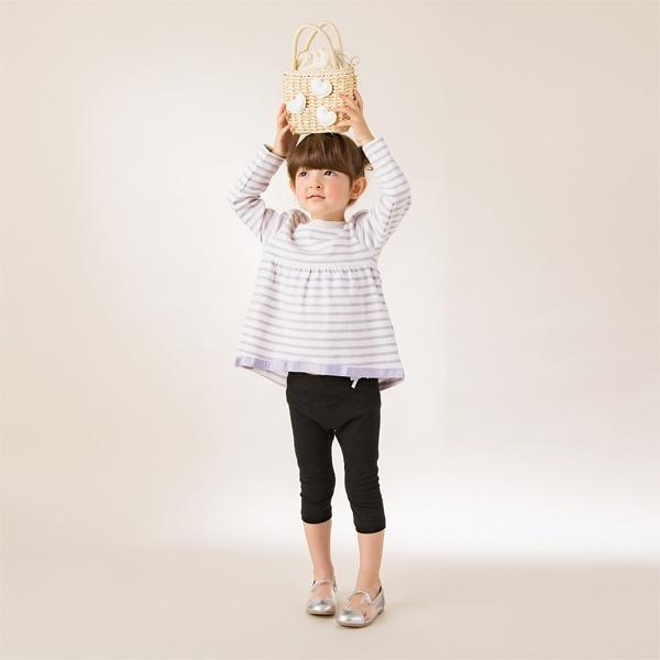 ボーダーAラインTシャツ/プティマイン(petit main)