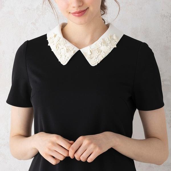 リボンフラワーモチーフ襟付きワンピース/ローズティアラ(Rose Tiara)