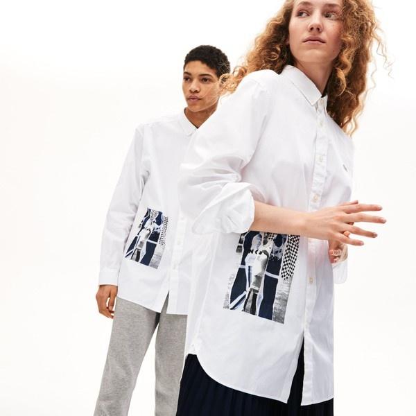 ユニセックス プリントデザインボタンダウンシャツ/ラコステ(LACOSTE)