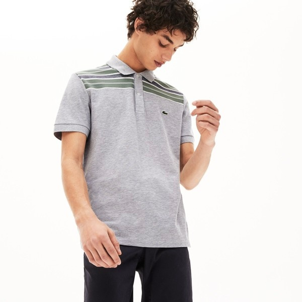 レギュラーフィット ボーダーパネルデザインポロシャツ (半袖)/ラコステ(LACOSTE)