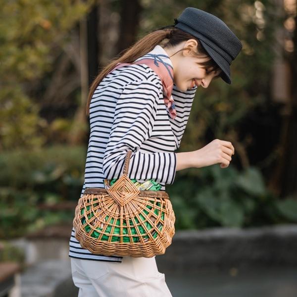 カゴバッグ アフリカンプリント巾着付ウィローカゴバッグ/カカトゥ(kakatoo)