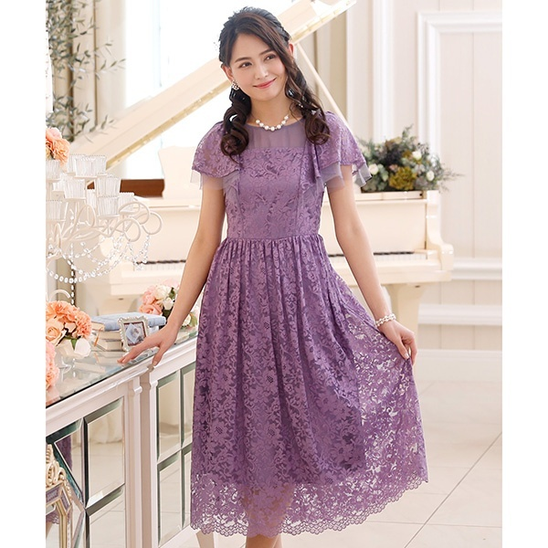 ラッフルスリーブレースワンピース・結婚式ドレス・お呼ばれパーティードレス/プールヴー(PourVous)