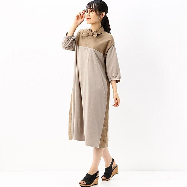 カットワーク刺しゅう リボンタイワンピース/スーパーハッカ(SUPER HAKKA)
