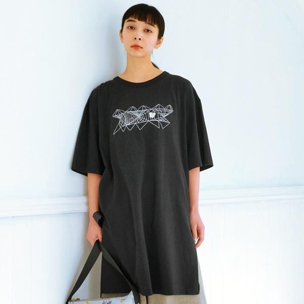 アーティストコラボ企画「あやとり」プリント×刺しゅうロングTシャツ/スーパーハッカ(SUPER HAKKA)