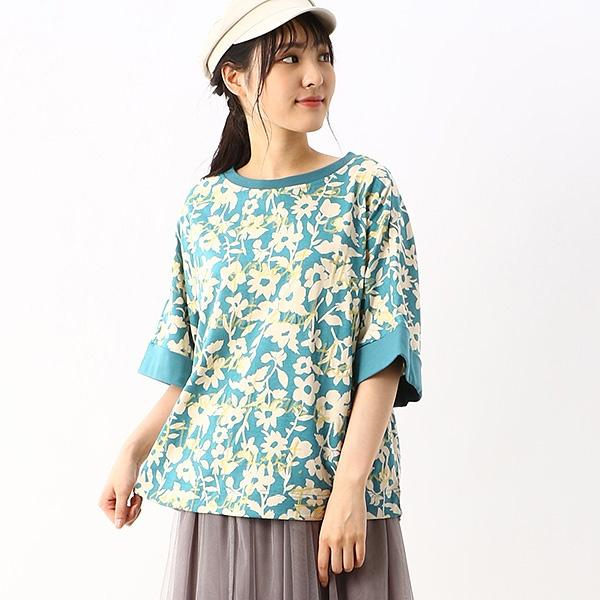 ロードトリップテーマ刺しゅう単色フラワーポンチョ風Tシャツ/スーパーハッカ(SUPER HAKKA)