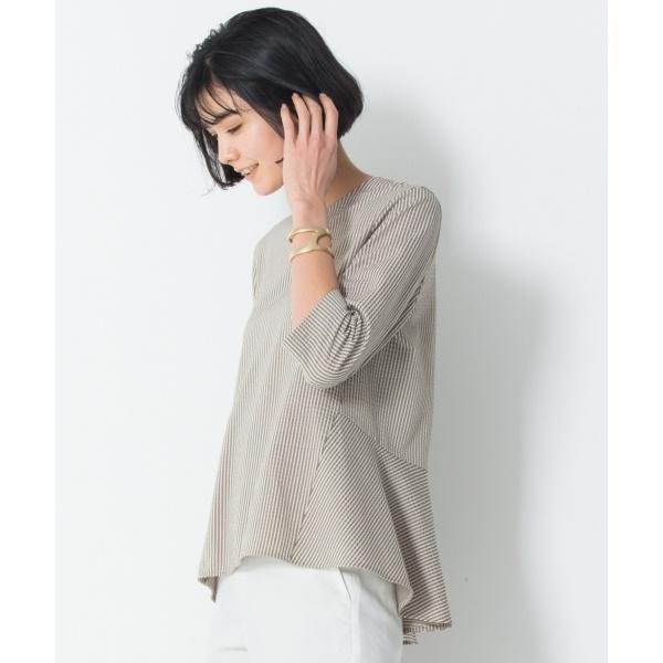 【マガジン掲載】シアサッカー ストライプ カットソー(番号H83)/23区(NIJYUSANKU)