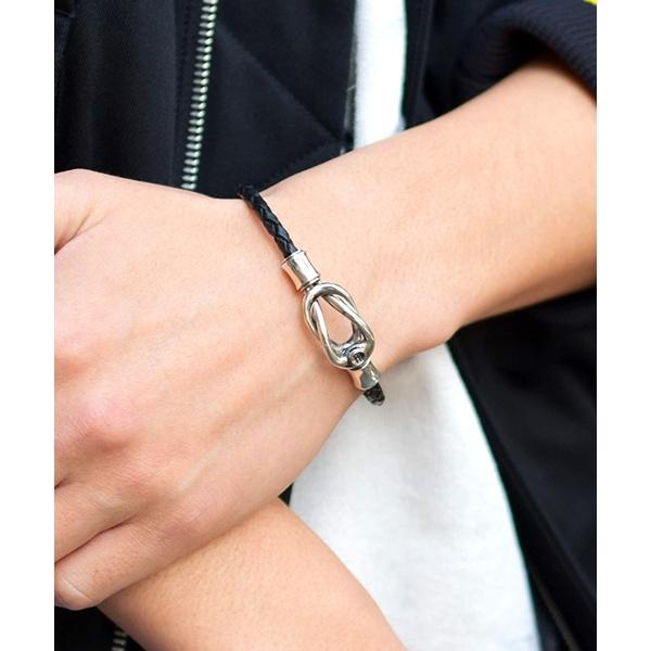 LH for Gift プレーンコネクトブレスレット / SV925 レザー ブラック/ライオンハート(LION HEART)