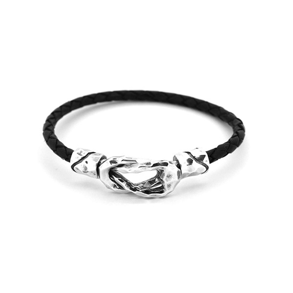 LH for Gift ロックコネクトブレスレット / SV925 レザー ブラック/ライオンハート(LION HEART)