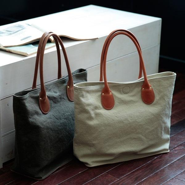 倉敷産10号帆布×レザー バッグインバッグ付き トートバッグ/オティアス(Otias)