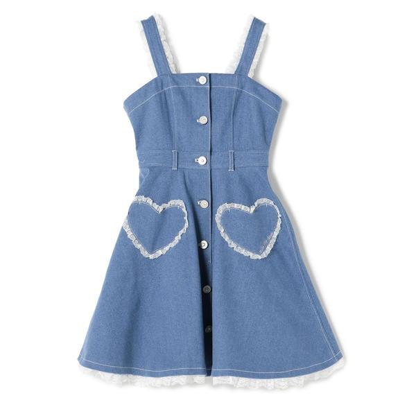 HEARTデニムワンピース / mille fille closet/ロディスポット(LODISPOTTO)