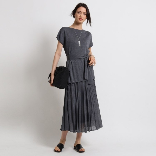 [L]【ハンドウォッシュ】ベルトニット×スカート ニットアップ/インディヴィ(INDIVI)
