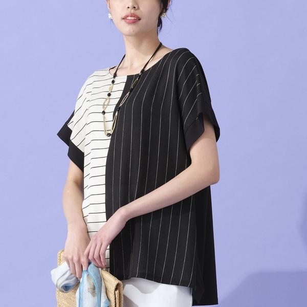 バイカラーストライプTシャツ【手洗いOK】/ミゼール(MISSEL)