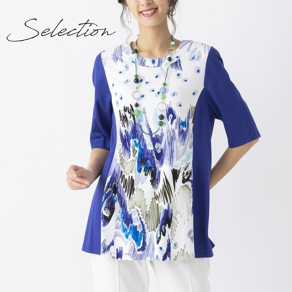 【Selection】 トルコ製素材使用 ピーコックチュニックTシャツ/リリアンビューティー(Liliane Burty)