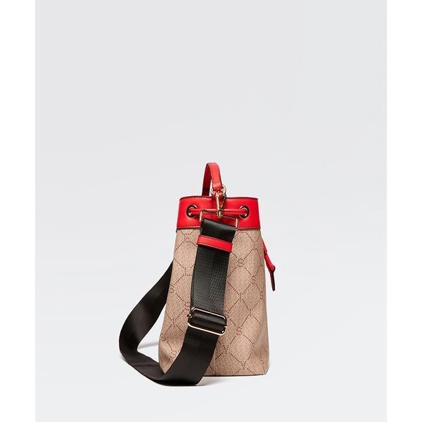 フェイクレザー切り替え型押し巾着ショルダーバッグ/シスレー レディース(SISLEY)