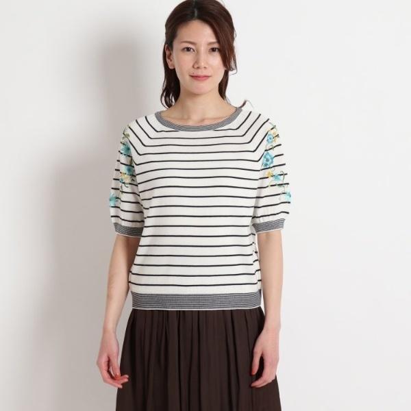 【洗える】フラワー刺繍5分袖ニット/スーナウーナ(SunaUna)