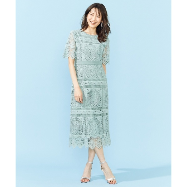 【PRIER】パネル柄レースタイトドレス/組曲(KUMIKYOKU)
