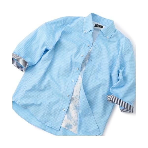 ダイヤ柄ジャカード 7スリーブシャツ/メンズビギ(MEN'S BIGI)