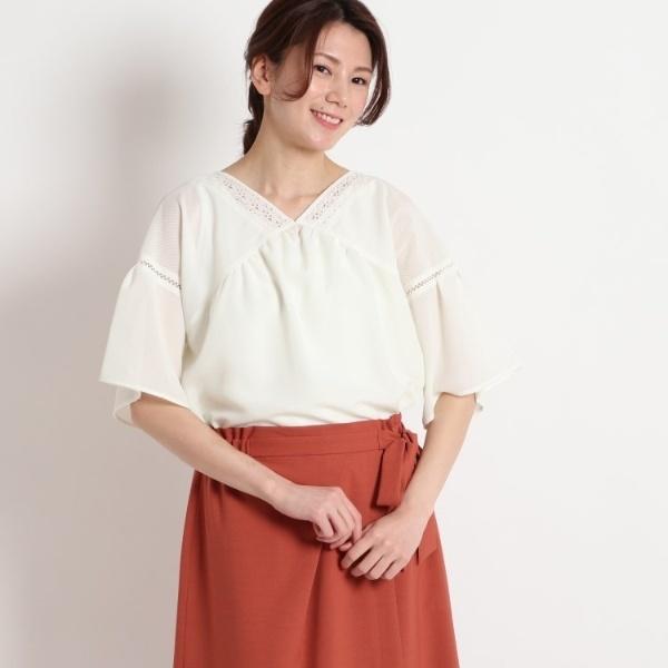 【洗える】シャドーストライプ刺繍サテンブラウス/スーナウーナ(SunaUna)