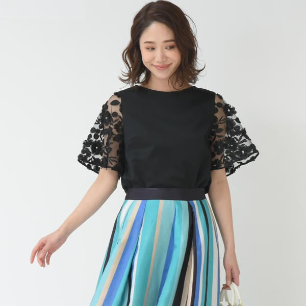【WEB別注】チュール刺繍カットソー/ビアッジョブルー(Viaggio blu)