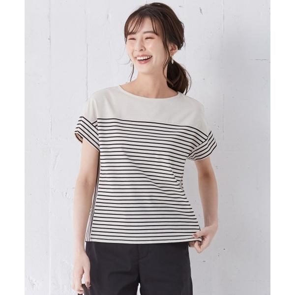 【洗える】デラヴェボーダー Tシャツ/Jプレス Sサイズ(レディス)(J.PRESS LADIES S)