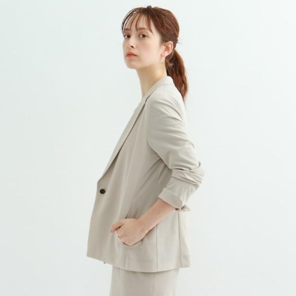 【マシンウォッシュ】ダブルカノコワンボタンジャケット/インディヴィ(INDIVI)