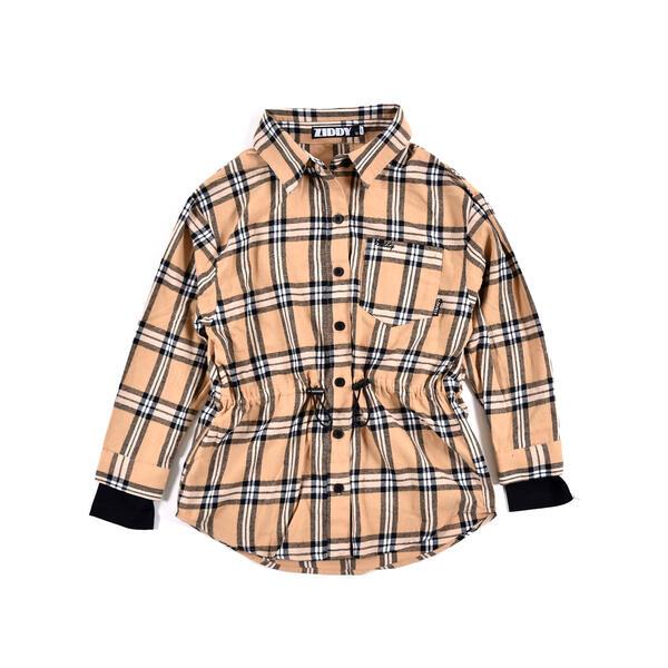 SALE 結婚祝い 新商品 ウエスト絞り チェックシャツ チャームTシャツ 130~160cm 2点セット ジディ ZIDDY