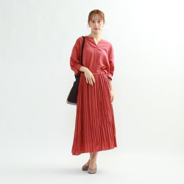 【マシンウォッシュ】袖デザインブラウス×ギャザースカート セットアップ/インディヴィ(INDIVI)