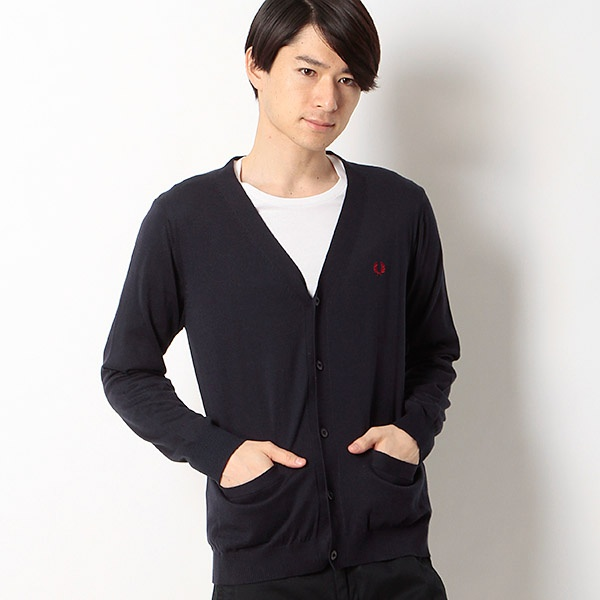 【16SS】『雑誌CLUEL homme 3月号掲載』STRIPE KNITTED CARDIGAN/フレッドペリー(メンズ)(FRED PERRY)