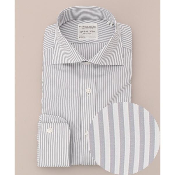 【形態安定】【ワイド】プレミアムプリーツ ドレスシャツ/五大陸(gotairiku)