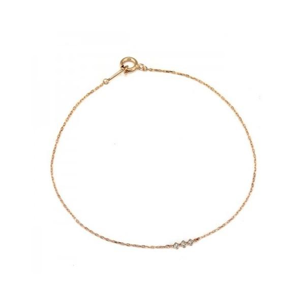 K10ピンクゴールドダイヤモンド3粒シンプルブレスレット/ブルーム(BLOOM)