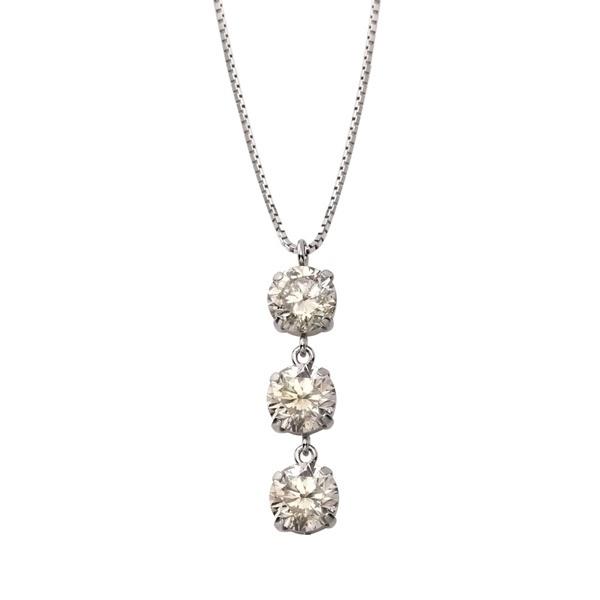 プラチナ3ストーンダイヤモンドネックレス(トータル1.0ct)/エステール(ESTELLE)