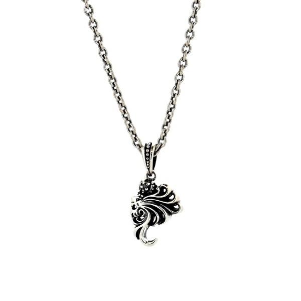 ライオンモチーフ 14VLHP52BN ライオンハート ネックレス ブラックキュービックジルコニア LION HEART HOWL シルバーネックレス [LH] ハウル