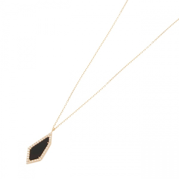 カラーストーン(オニキス×ダイヤ)平石ネックレス大/ココシュニック(COCOSHNIK)