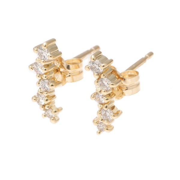 K18ランダムセッティング ダイヤモンド5石 スタッドピアス/ココシュニック(COCOSHNIK)「不良品のみ返品を承ります」