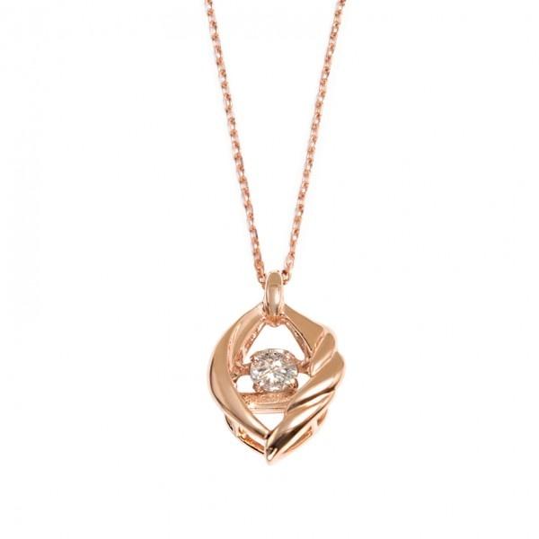 【ダンシングストーン】K10ピンクゴールドダイヤモンド(0.05ct)ネックレス/ブルーム(BLOOM)
