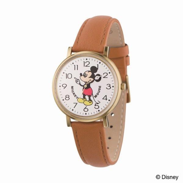 ミッキーレザーウォッチ(クオーツ【型番:M34-WH-LBR】)/ディズニー(Disney)