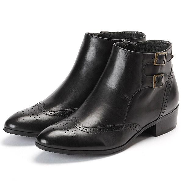 ブーツ(ファスナー付き/クッション入り/滑り止めソール/メダリオン/ショートブーツ/3cmヒール)/モードカオリ(MODE KAORI)