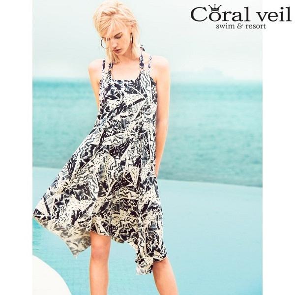 水着(幾何柄 タンキニ ワンピ付 3点セット ショルダー)【9号(M)~11号(L)】/Coral Veil(水着)