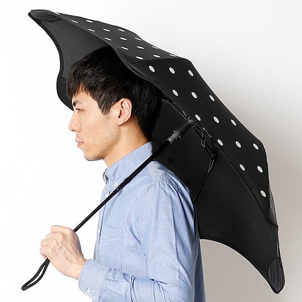 【空気力学による風に強い構造】ユニセックス折りたたみ傘・ドット柄(メンズ/レディース雨傘)/ブラント(BLUNT)