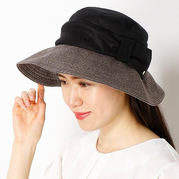 【サイズ調整OK】手洗いできるUV麻ブレード×布帛掛け合わせ中つばハット/フルラ(ネックウェア・帽子)(FURLA)