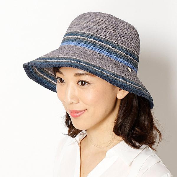 【サイズ調整OK】ラフィア細編みマルチボーダーハット/フルラ(ネックウェア・帽子)(FURLA)