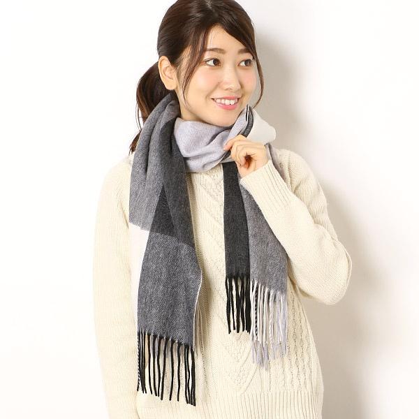 【手洗いOK】カシミヤ100%波付ブロックチェックストール/フルラ(ネックウェア・帽子)(FURLA)