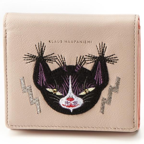 クラウスハーパニエミ 2つ折財布 黒猫刺繍入り/クラウスハーパニエミ