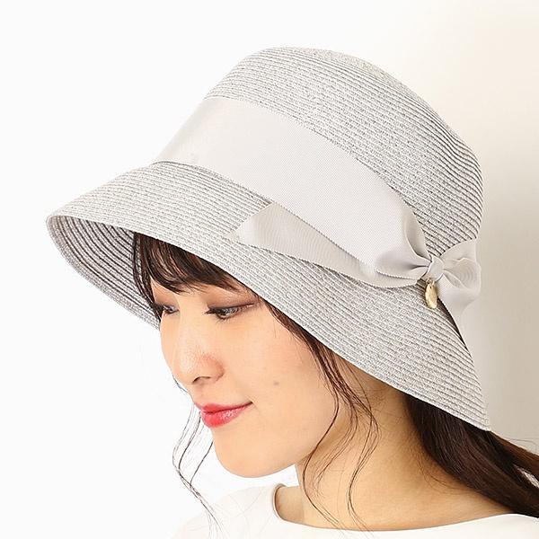 【UV遮蔽率98.9%以上・サイズ調整OK】手洗いできるペーパーブレード リボン巻きハット/フルラ(ネックウェア・帽子)(FURLA)