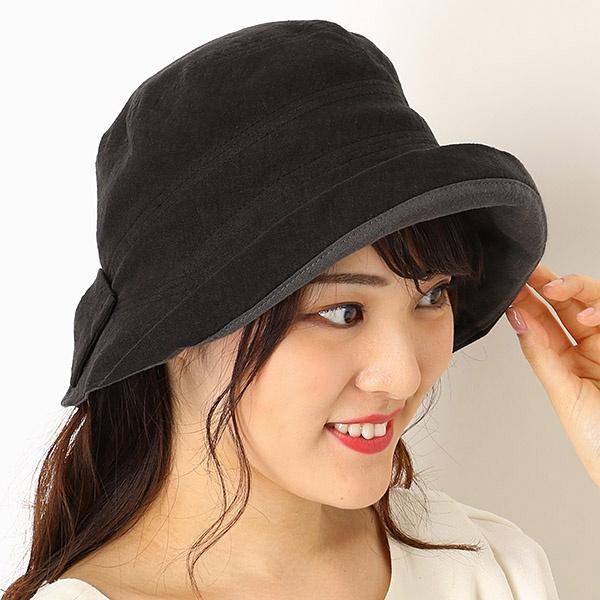 【UV遮蔽率98%以上・サイズ調整OK・日本製】手洗いできる麻100% 後ろリボンハット/フルラ(ネックウェア・帽子)(FURLA)