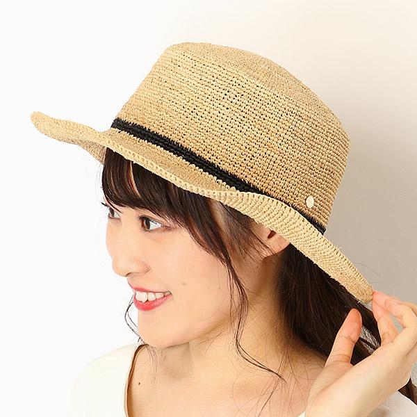 【サイズ調整OK】ラフィア細編み 平天ハット/カンカン帽/フルラ(ネックウェア・帽子)(FURLA)