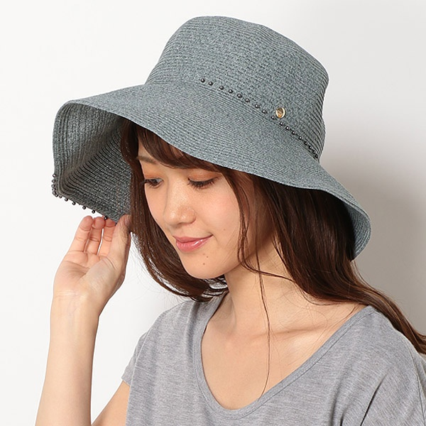 【UV遮蔽率94.9%以上・サイズ調整OK】手洗いできるペーパーブレード パール調付き広つばハット/フルラ(ネックウェア・帽子)(FURLA)