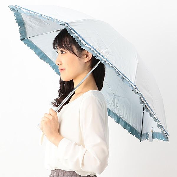 日傘(3段/折りたたみ/ミニ/晴雨兼用)【遮光&UV遮蔽率99%以上/遮熱】ヒートカット裾バイカラー/フルラ(ネックウェア・帽子)