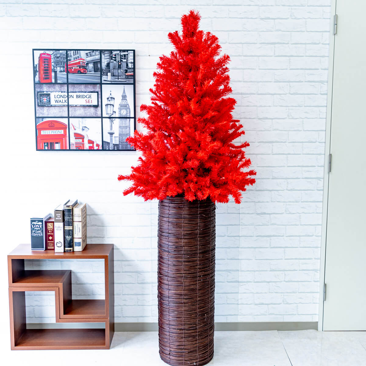 【PCH071 クリスマスツリーアレンジ/レッドツリー/シリンダーバスケットスタンド90】クリスマス装飾 クリスマスツリー デコレーション オーナメント 飾り 冬装飾 送料無料